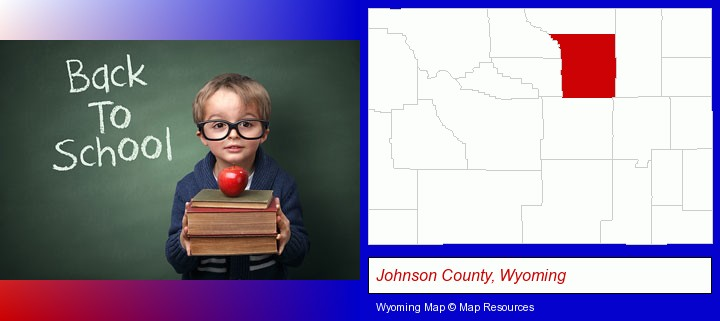 the back-to-school concept; Johnson County, Wyoming highlighted in red on a map