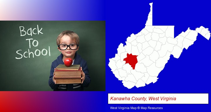 the back-to-school concept; Kanawha County, West Virginia highlighted in red on a map