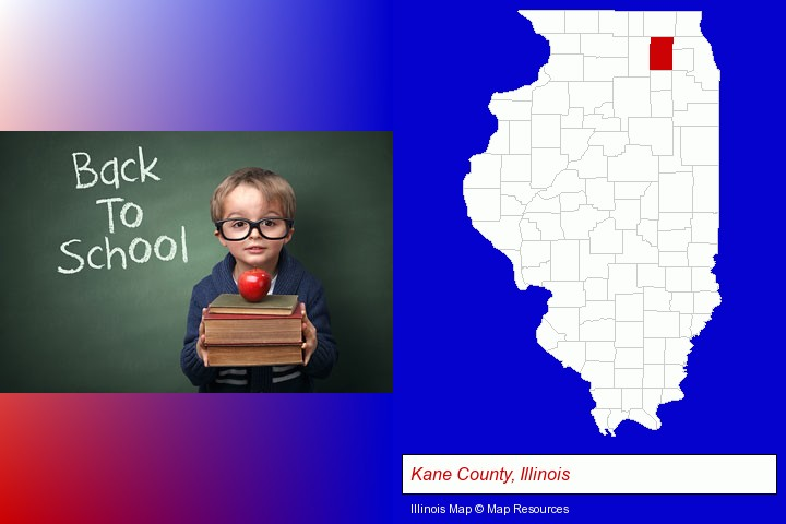 the back-to-school concept; Kane County, Illinois highlighted in red on a map