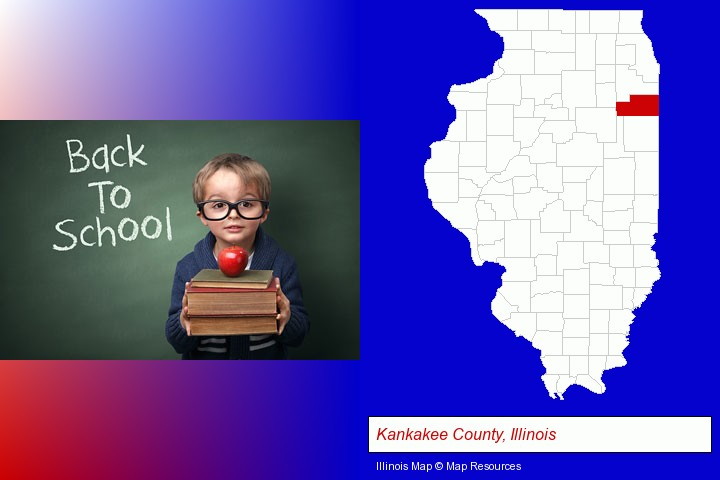 the back-to-school concept; Kankakee County, Illinois highlighted in red on a map
