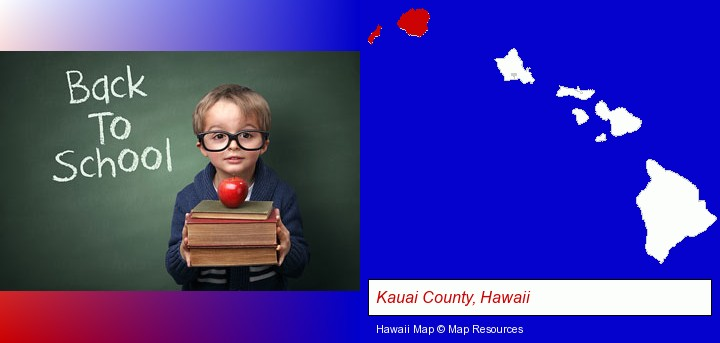 the back-to-school concept; Kauai County, Hawaii highlighted in red on a map