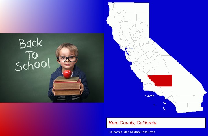 the back-to-school concept; Kern County, California highlighted in red on a map