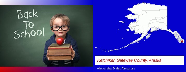 the back-to-school concept; Ketchikan Gateway County, Alaska highlighted in red on a map
