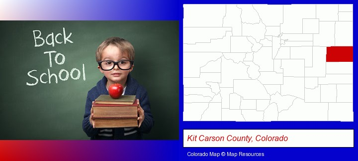 the back-to-school concept; Kit Carson County, Colorado highlighted in red on a map