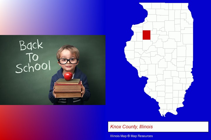 the back-to-school concept; Knox County, Illinois highlighted in red on a map