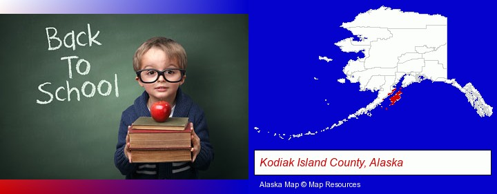 the back-to-school concept; Kodiak Island County, Alaska highlighted in red on a map