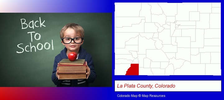 the back-to-school concept; La Plata County, Colorado highlighted in red on a map