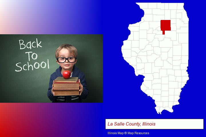the back-to-school concept; La Salle County, Illinois highlighted in red on a map