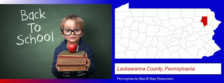 the back-to-school concept; Lackawanna County, Pennsylvania highlighted in red on a map