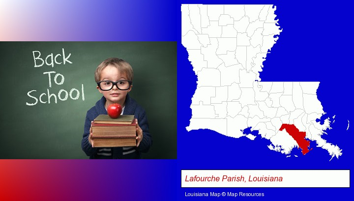 the back-to-school concept; Lafourche Parish, Louisiana highlighted in red on a map