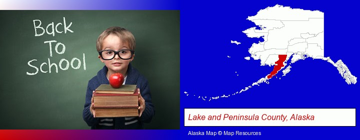 the back-to-school concept; Lake and Peninsula County, Alaska highlighted in red on a map