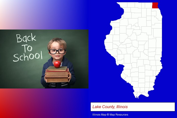 the back-to-school concept; Lake County, Illinois highlighted in red on a map