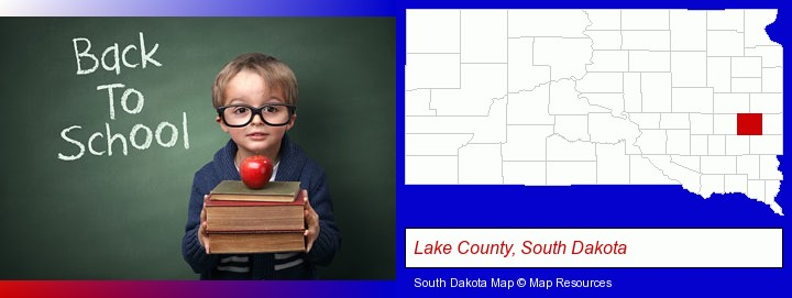 the back-to-school concept; Lake County, South Dakota highlighted in red on a map