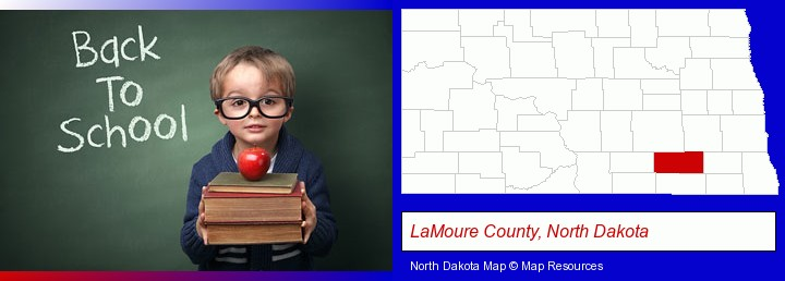 the back-to-school concept; LaMoure County, North Dakota highlighted in red on a map