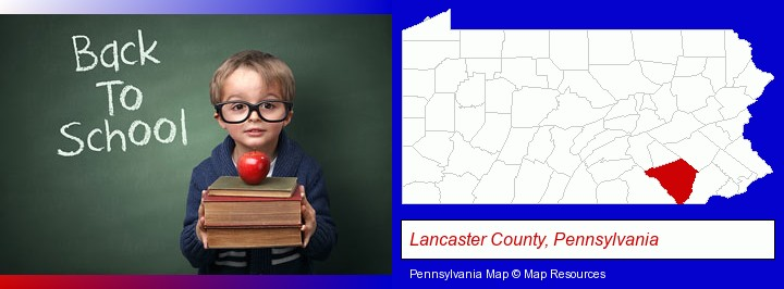 the back-to-school concept; Lancaster County, Pennsylvania highlighted in red on a map