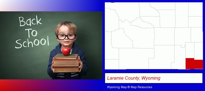 the back-to-school concept; Laramie County, Wyoming highlighted in red on a map