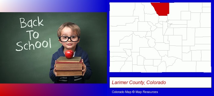 the back-to-school concept; Larimer County, Colorado highlighted in red on a map