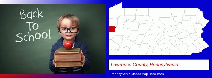 the back-to-school concept; Lawrence County, Pennsylvania highlighted in red on a map