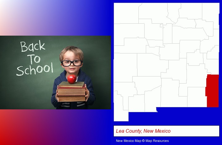 the back-to-school concept; Lea County, New Mexico highlighted in red on a map