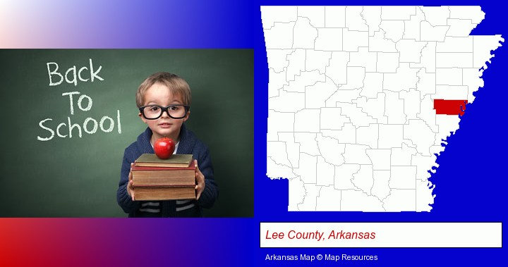the back-to-school concept; Lee County, Arkansas highlighted in red on a map