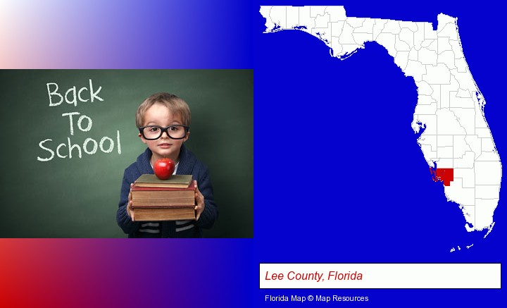 the back-to-school concept; Lee County, Florida highlighted in red on a map