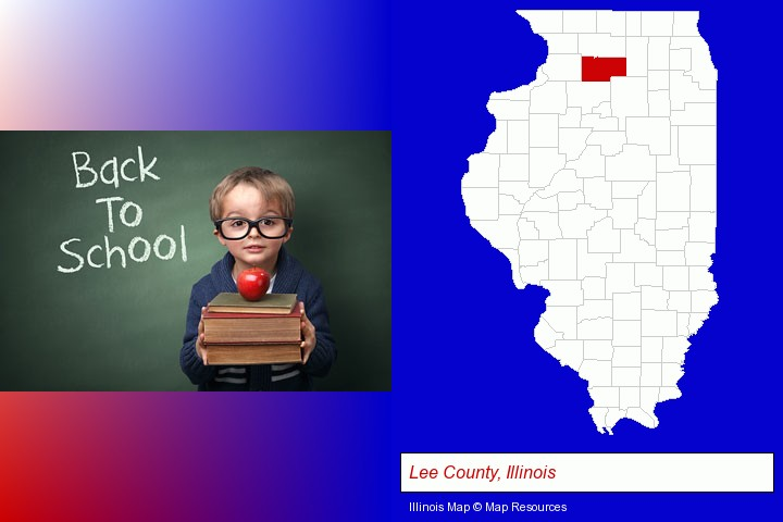 the back-to-school concept; Lee County, Illinois highlighted in red on a map
