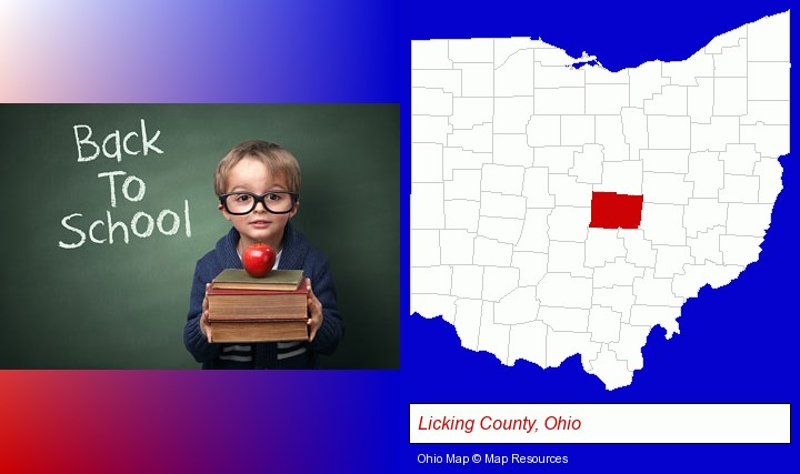 the back-to-school concept; Licking County, Ohio highlighted in red on a map