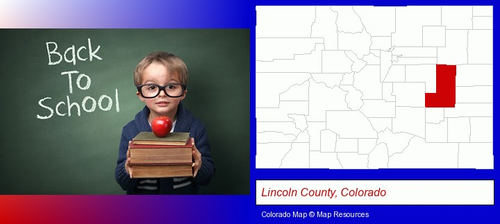 the back-to-school concept; Lincoln County, Colorado highlighted in red on a map