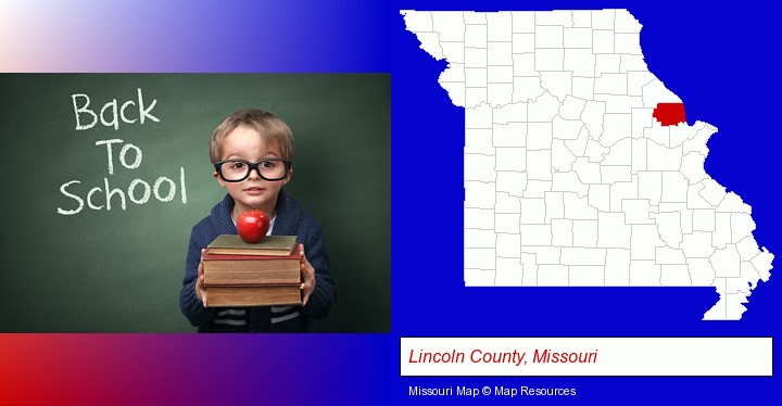the back-to-school concept; Lincoln County, Missouri highlighted in red on a map