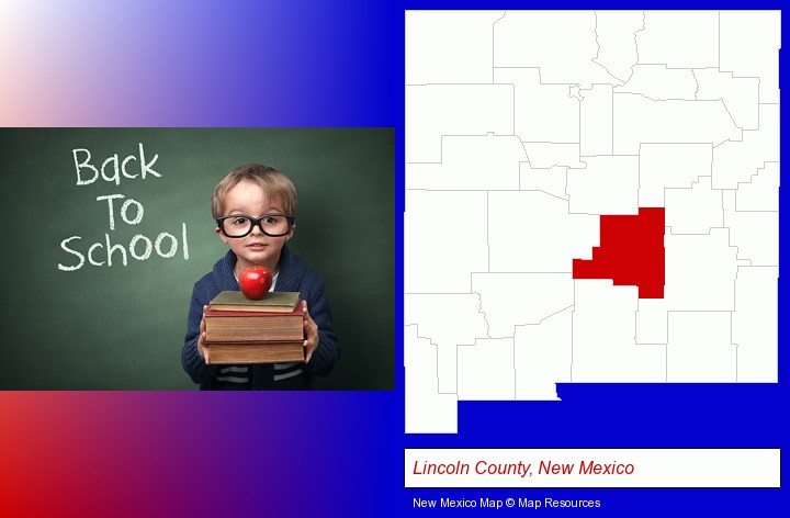 the back-to-school concept; Lincoln County, New Mexico highlighted in red on a map