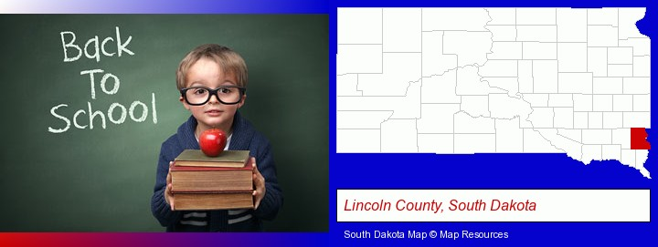 the back-to-school concept; Lincoln County, South Dakota highlighted in red on a map