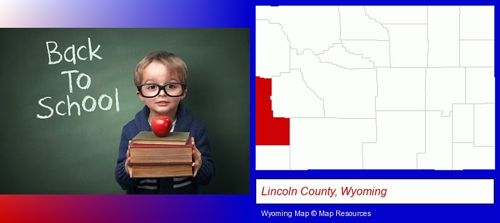 the back-to-school concept; Lincoln County, Wyoming highlighted in red on a map