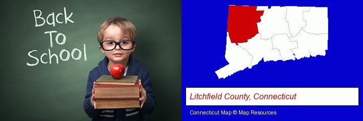 the back-to-school concept; Litchfield County, Connecticut highlighted in red on a map