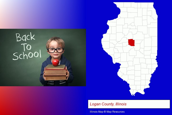 the back-to-school concept; Logan County, Illinois highlighted in red on a map