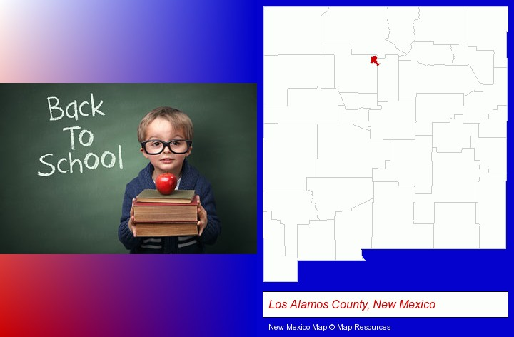 the back-to-school concept; Los Alamos County, New Mexico highlighted in red on a map