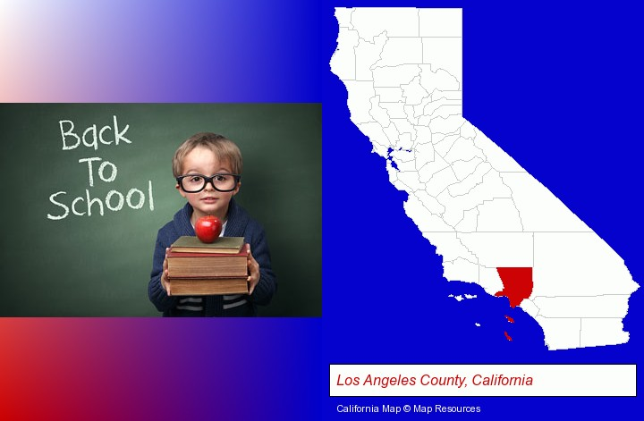 the back-to-school concept; Los Angeles County, California highlighted in red on a map