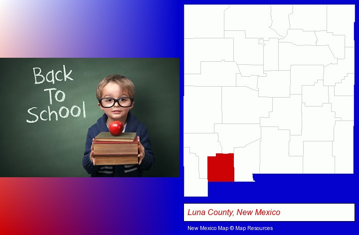 the back-to-school concept; Luna County, New Mexico highlighted in red on a map