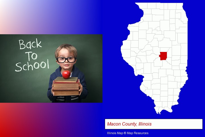 the back-to-school concept; Macon County, Illinois highlighted in red on a map