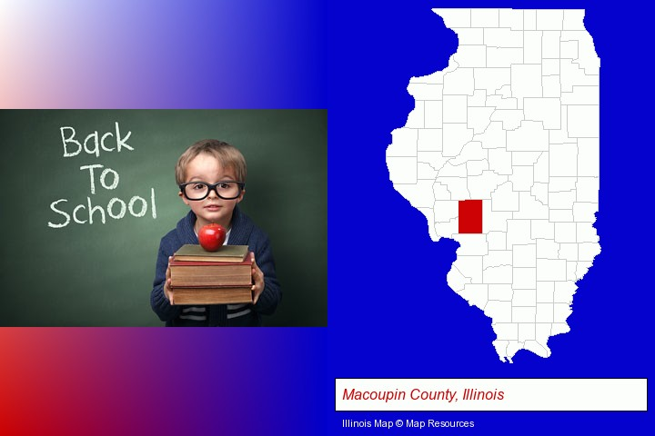 the back-to-school concept; Macoupin County, Illinois highlighted in red on a map