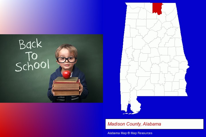 the back-to-school concept; Madison County, Alabama highlighted in red on