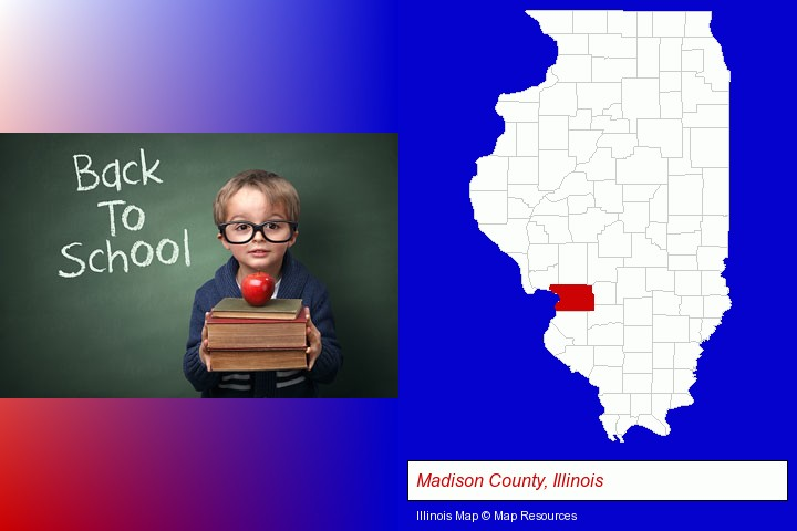 the back-to-school concept; Madison County, Illinois highlighted in red on a map