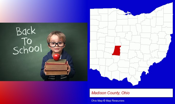 the back-to-school concept; Madison County, Ohio highlighted in red on a map
