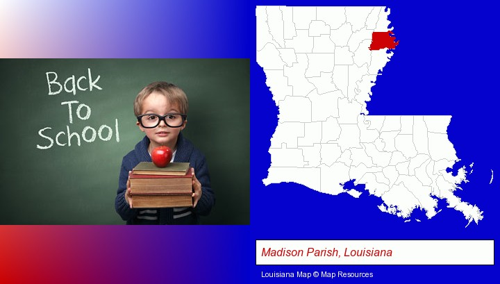 the back-to-school concept; Madison Parish, Louisiana highlighted in red on a map