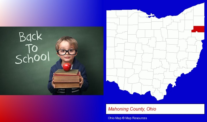 the back-to-school concept; Mahoning County, Ohio highlighted in red on a map