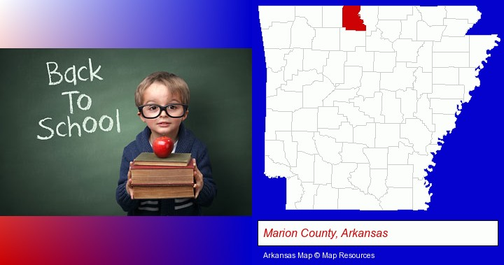 the back-to-school concept; Marion County, Arkansas highlighted in red on a map
