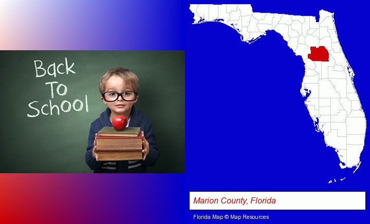 the back-to-school concept; Marion County, Florida highlighted in red on a map