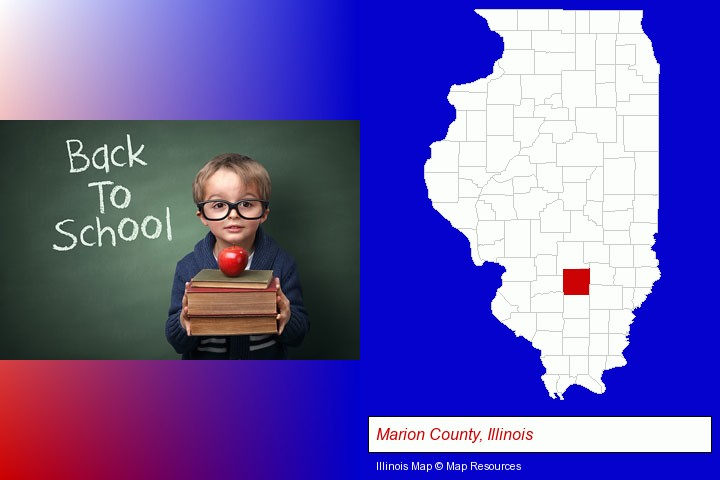 the back-to-school concept; Marion County, Illinois highlighted in red on a map