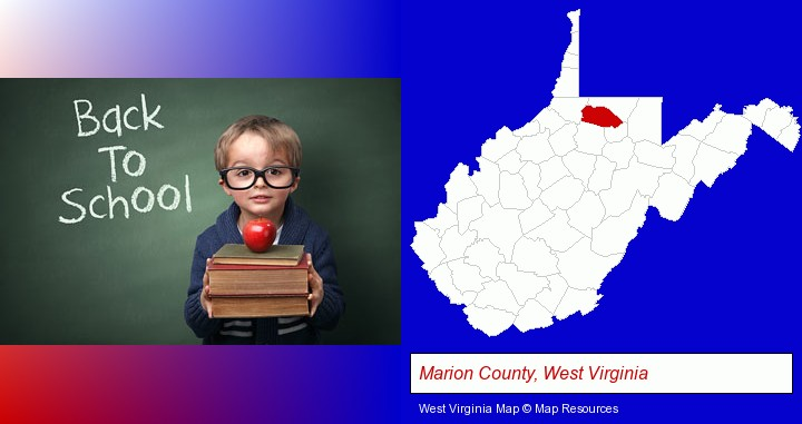 the back-to-school concept; Marion County, West Virginia highlighted in red on a map