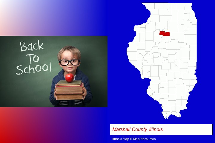 the back-to-school concept; Marshall County, Illinois highlighted in red on a map