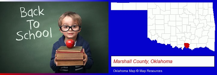 the back-to-school concept; Marshall County, Oklahoma highlighted in red on a map